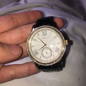 Guess watch black leather with bling/crystals